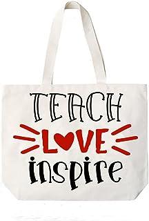 Teach Love Inspire Teacher Canvas Tote Book Bag Teacher Appreciation