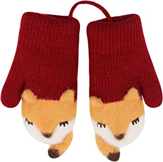 RARITYUS (0-3Y) Unisex Kids Winter Gloves Warm Fleece Lined Thick Cute Fox Mittens Snow Gloves with String for Boys Girls