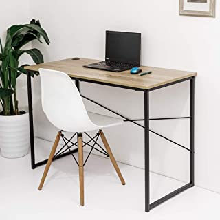 C-Hopetree Student Study Writing Computer PC Desk, Small Office Worktation Table, Industrial Wood Look, Black Metal Frame