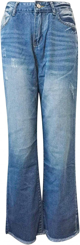YUNDAN Women's Mid Waist Jeans Casual Loose Fit Wide Leg Long Denim Pants Fashion Jeans Trousers with Pocket