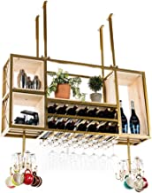 Ceiling Wine Racks | Bottle and Glass Holder | Hanging Stemware Glass Holder | Vintage Wall Shelf Storage Rack for Living ...