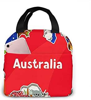 Insulated Lunch Bag for Women Men Australia Down Under, Reusable Lunch Tote Lunch Box Organizer Cooler Bag with Front Pocket for Work Travel Picnic