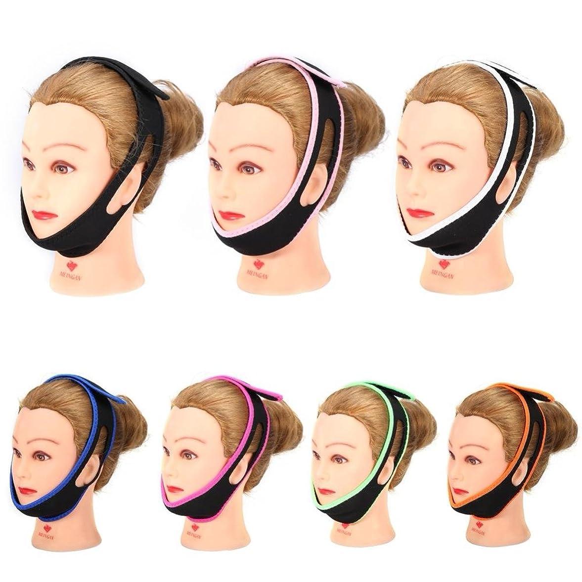 ダイジェスト変な禁止するあごストラップベルト繊細なフェイスリフト7色あごサポートストラップスリムマッサージャー睡眠防止いびきヘッドバンドサポート,White