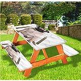 LEWIS FRANKLIN - Mantel ajustable para mesa de picnic y banco, diseño de perrito con borde elástico, 28 x 72 pulgadas, juego de 3 piezas para mesa plegable