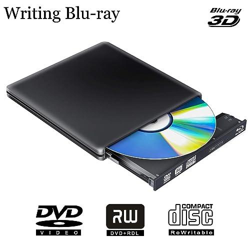 Lecteur Graveur Blu ray Externe 3D, USB 3.0 Portable Lecteur Blu-ray Slim BD CD DVD-ROM ROM pour PC Mac Windows 7 8 10 XP Linxus