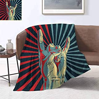 jecycleus Music Comfortable Large Blanket Hand in Heavy Rocker Sign Musical Universal Gesturing Thunder Bolts Party People Microfiber Blanket Bed Sofa or Travel W70 by L84 Inch Multicolor