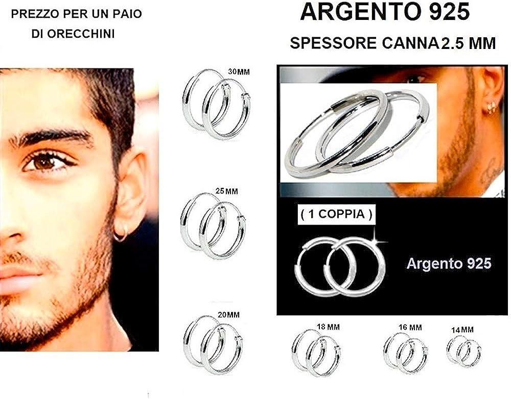1 PAIO DI ORECCHINI ARGENTO 925 STERLING CERCHI DIAMETRO 30 MM