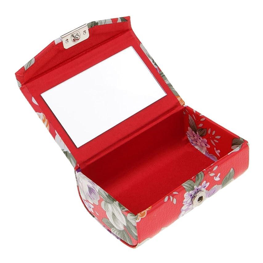 南しがみつく魔術師Fenteer 口紅ケース リップスティックケース ミラー付き 香水 オイル 携帯用 旅行用 2タイプ  - 赤