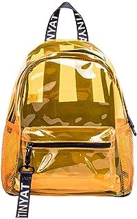 Kemelo New Transparent PVC Backpack School Travel Daypack per Ragazze Adolescenti,Zaino per Laptop,Arancione