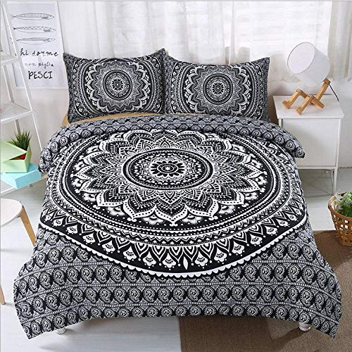 Aaooseso 3D Printing Of Duvet Covers For Boys And Girls Retro Boho Double 200 X 200 Cm Quilt Duvet Cover With Zipper Closure 3 Pieces Super Microfiber Bedding Set With 2 Pillowcases 50X75Cm