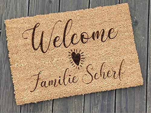 Fußmatte personalisiert aus Kokos-Fasern | 60 x 40 cm Fußteppich aus Cocos für den Eingangsbereich | Individuelle Kokos-Fußmatte für Familien