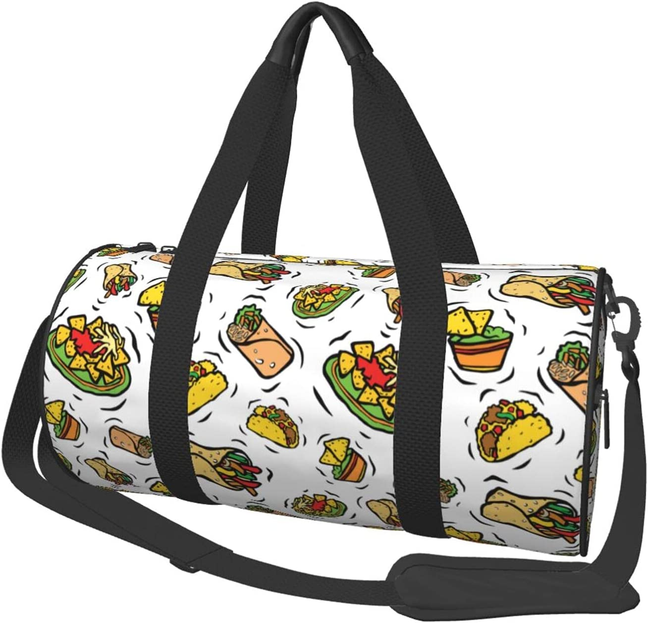Fredeulva Cute Mexican Food Duffel Round Canvas Selling and selling Gym Shoulder Selling and selling Bag