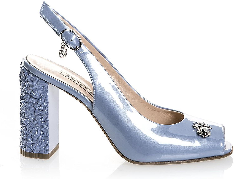 Marino Fabiani 6522 blå läder hög klack Formal kvinnor Sandals