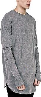 Aelfric Eden Mens Long Sleeve Thumb Hole Cuffs Tee Shirt Loose Hem Solid Color T-Shirt Basic Hip Hop Tee Tops