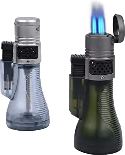 HUOWA Cigar Lighter Butane Refill 2 Pack, 3 Jet Torch Cigarette Lighter with Visible Fuel Tank Gadgets for Men …