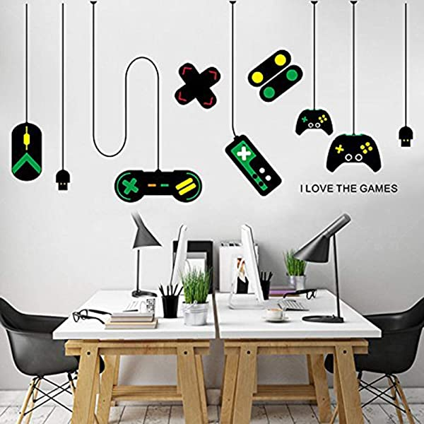 Huangliao Game Wall Stickers Gaming Controller Joystick Playroom Wall Decals For Bedroom Living Room Decor Removable Art Mural For Boys Kids Men