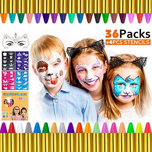Gifort Visage Peinture, 36 Couleurs Crayons Maquillage pour Enfants, Crayons Peinture pour Visage, avec 32 Pochoirs, Parfait pour Halloween, Cosplay, fête