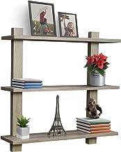 قفسه شناور Sorbus - قفسه دیوار مربع نامتقارن، نمایش دکوراتیو تزئینی برای جایزه، قاب عکس، کلکسیون، و بیشتر، مجموعه ای از 3 (3 طبقه - خاکستری)