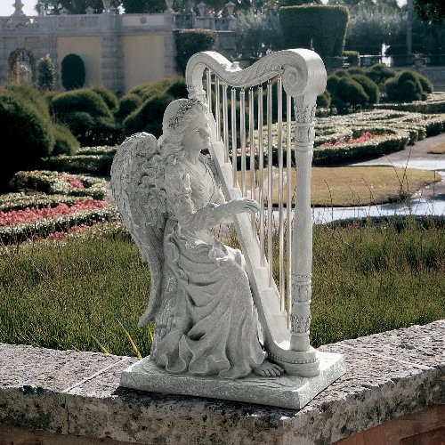 Artistic Solutions 29' Classic Winged Musical Angel Playing Harp - Home Garden Statue Sculpture Yard Art