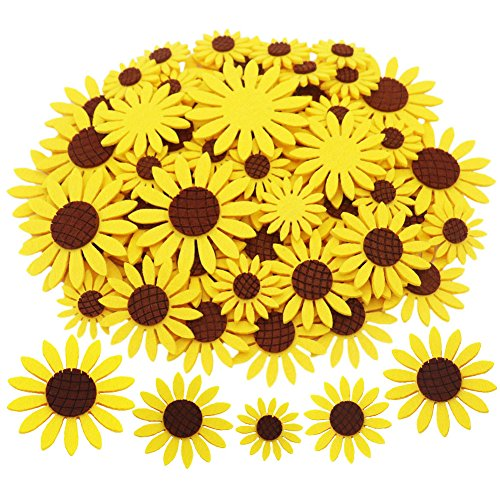 SOOKOO 3 Sizes 60pcs Felt Sunflower Applique Patches for Scrapbooking DIY Craft Making Clothes Sewing Handcraft Decoration