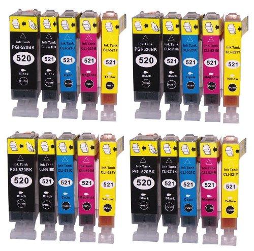 20 Bubprint Druckerpatronen kompatibel für Canon PGI-520 CLI-521 für Pixma IP3600 IP4600 IP4700 MP540 MP550 MP560 MP620 MP630 MP640 MP980 MX860 MX870
