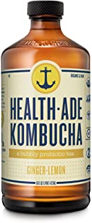 Health-Ade Kombucha, Organic Ginger-Lemon, a Bubbly Probiotic Tea 16oz (12 pack)