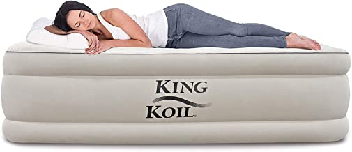 King Koil Twin Air Mattress with Built-in Pump - Double High Elevated Raised Airbed for Guests with Comfortable Top ONLY Bed with 1-Year Manufacturer Guarantee Included