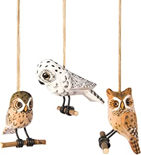 Wood Carved Woodland Owls 3 Inch Holiday Christmas Ornaments Set of 3