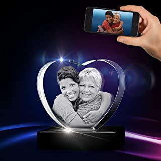 3D Heart Crystal with a Free LED Base That Illuminates The Crystal, Personalize with Your own Custom Engraving (Small Heart 3D Crystal)