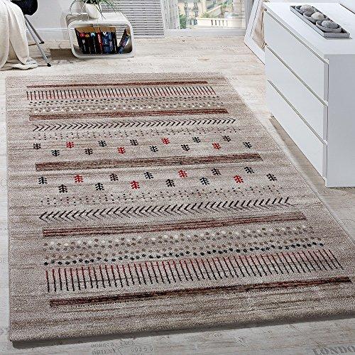 Paco Home Designer Teppich Modern Loribaft Klassisch Nomaden Teppich Kurzflor Beige Creme, Grösse:160x230 cm