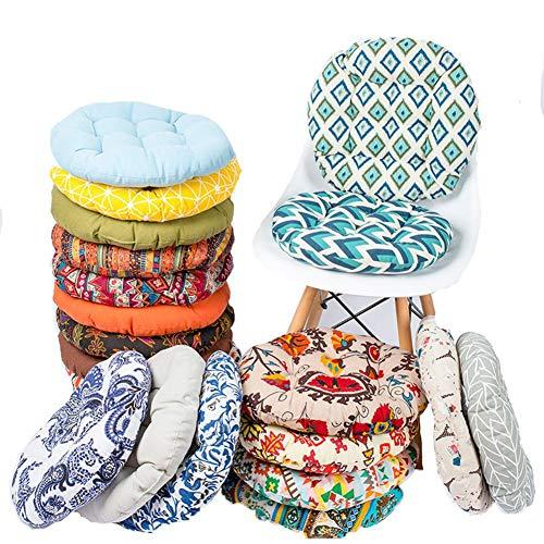 Bettying - Cojín redondo para silla, con impresión de franela suave y tejido elástico de algodón de polipropileno, pinza para comedor, jardín, silla, balcón, despensa, color aleatorio