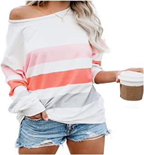 neveraway Women's T Shirts Striped Casual Loose Long Sleeve Fashion Blouse Top