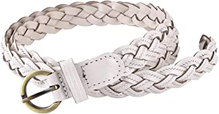 Women's Braided Woven Belt Skinny Vintage Thin Leather Belt for Jeans