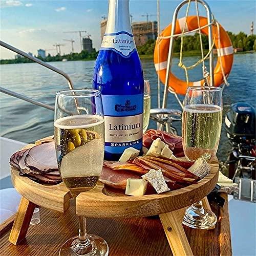 Mesa de picnic plegable al aire libre de madera, mesa de picnic portátil, escritorio redondo plegable, estante de copa de vino, mini mesa portátil para senderismo, mesa de vino de comida al aire libre