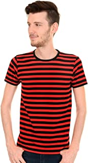 Mens Indie Retro 60's Black & Red Striped Short Sleeve T Shirt