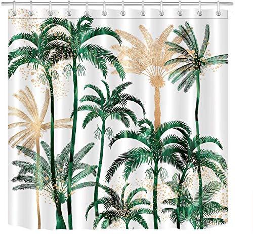 ECOTOB Palm Tree Shower Curtain for Bathroom, Tropical Hawaii Coconut Palm Trees Nature Paradise Plants Foliage Leaves Fabric Bathroom Decor Set with Shower Curtain Hooks, 72x72 Inch