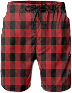 HXXUAN Men's Beach Shorts Swim Trunks Buffalo Plaid Red Checkered Board Shorts with Pockets