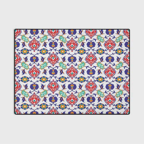Traditional Modern Soft Rug Pad Classic Ottoman Moroccan Old Fashioned Turkish Mosaic Tiles Ceramic Artwork Indoor Throw Area Rug for Living Room Kids Room Multicolor 6 x 8.8 Ft