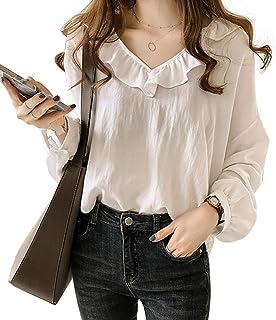 SIEGES ブラウス 春 長袖Tシャツ シャツ とろみ 大きいサイズ 可愛い 夏 お尻カバー きれいめ 薄手 無地 柄 ゆったり シフォン カシュアル vネック