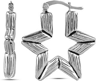 LeCalla Women's Sterling Silver Jewelry Antique Astronomy Bamboo Pattern Bali Hoop Earrings