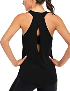 ICTIVE Women's Cross Back Yoga Shirt Backless Workout Tops for Womens Racerback Tank Tops Open Back Running Muscle Tanks