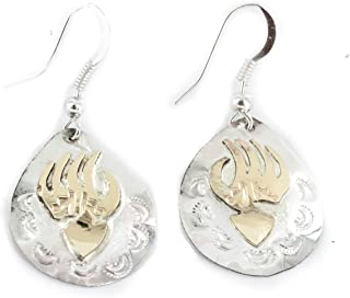 12kt Gold Filled and .925 Sterling Silver Bear Paw Handmade Certified Authentic Navajo Dangle Native American Earrings 24469