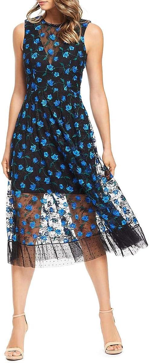 Dress the Population Women's Robyn Sleeveless Lace Illusion Fit & Flare Midi Dress, Black/Blue/Green, XL