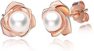Rose Gold Plated Sterling Silver Rose Flower & Pearl Stud Earrings for Women