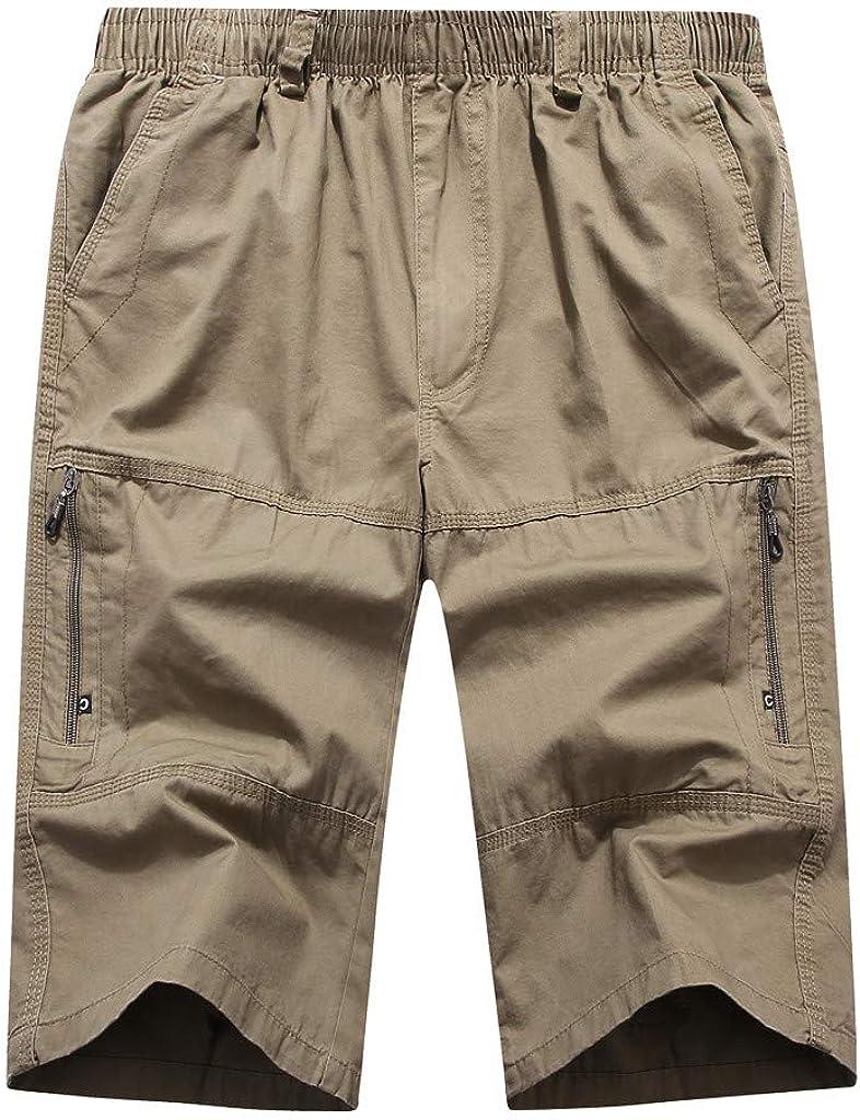 IHGTZS Shorts for Men, Men's Summer Casual Pure Color Loose Multi-Pocket Beach Calf-Length Sport Pants