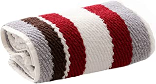 Kylin Express Absorbent Cotton Towel Bathing Towel Face Towel for Bathroom, Stripe, Grey&Red