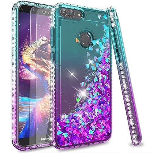 LeYi Custodia Huawei P Smart/Enjoy 7S Glitter Cover con Vetro Temperato [2 Pack],Brillantini Diamond Silicone Sabbie Mobili Bumper Case per Custodie Huawei P Smart Donna ZX Turquoise Purple Gradient