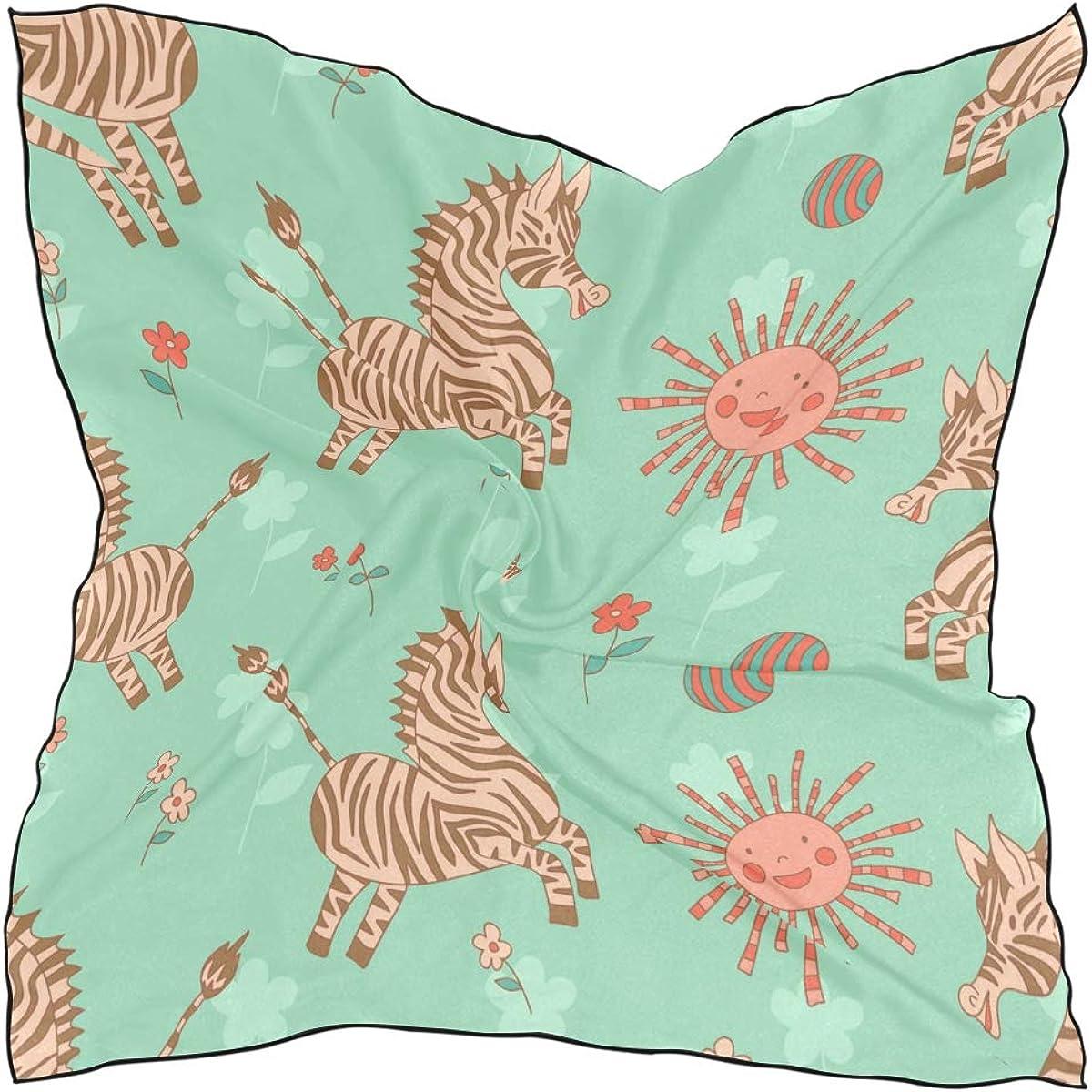 Soft Polyester Silk Head Scarf Lightweight Fashion Print Zebra Animal Wild Life Scarves Head Light Square Scarf Ladies Square Scarves Multiple Ways Of Wearing Daily Decor