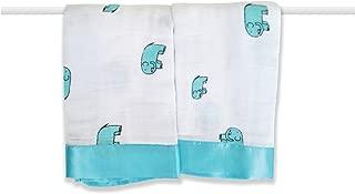 aden + anais Issie Security Blanket; 100% Cotton Muslin; Satin Trim; 2-pack; Jungle Jam- elephant