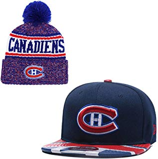 FANwenfeng Ice Hockey Team Couple Adjustable Unisex-Adult Sport Peaked Hat and Huset Keep Warm Cuff Knit Cap